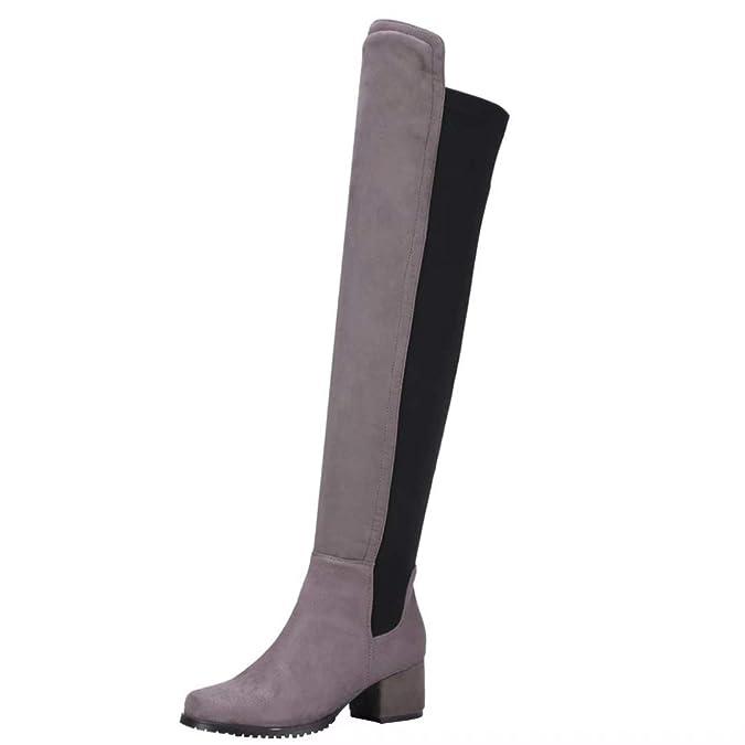Freizeit Stretch Overknee Langschaftstiefel Stiefel Damen Absatz Bequem Blockabsatz 5cm Patchwork Mit Schuhe Aiyoumei dBtxrCoshQ