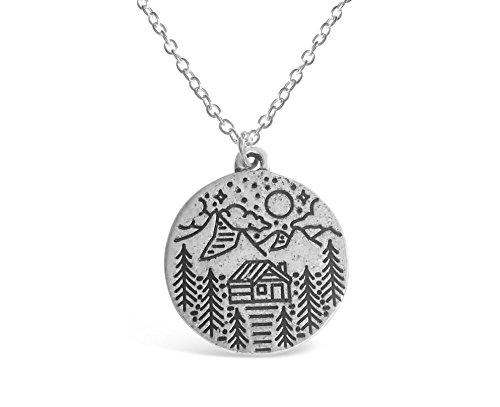 Rosa Vila Mountain Life Necklace S2 for Women, Ideal Mountains Jewelry Gift for Nature, Adventure, and Outdoor Lovers (Silver Tone)