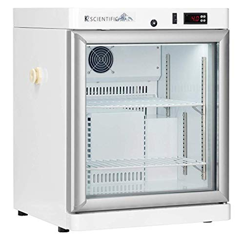 K2 Scientific - Benchtop Style Glass Door Refrigerator for Pharmaceuticals & Vaccines - Medical-Grade Storage - 2 Shelves - 2.5 Cu. Ft.
