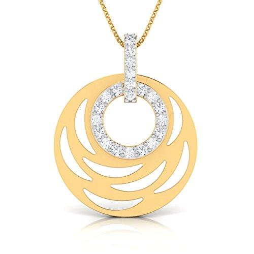18 K Or Blanc 0,22 CT TW Round-cut-diamond (IJ | SI) Pendentif
