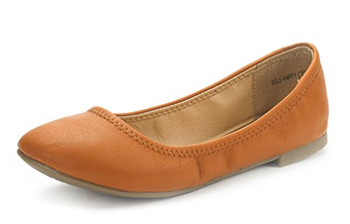 DREAM PAIRS Women's Sole-Happy Tan Ballerina Walking Flats Shoes - 6.5 M US (Best Formal Shoes For Flat Feet)