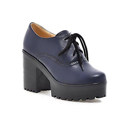 BalaMasa Womens Hollow Out Bandage Chunky Heels Platform Urethane Pumps Shoes Blue x4aJPP