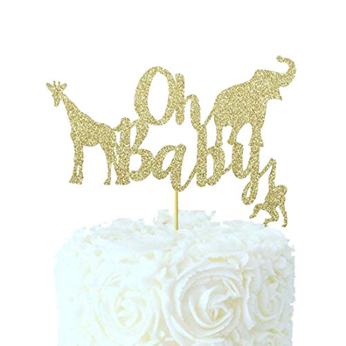 Oh Baby Baby Shower Cake Topper Gold Glitter Jungle Safari Animal Baby Shower Cake Topper Party Supplies Decorations ()