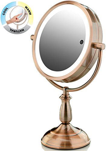 """Ovente 7.5"""" Lighted Tabletop Vanity Mirror, Battery or Cord Operated, SmartTouch Cool, Warm, Daylight LED Tones (1x10x Magnification, Antique Copper) (MPT75CO1X10X)"""