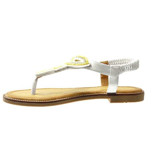 Angkorly - Chaussure Mode Sandale salomés femme bijoux tréssé Talon bloc 1.5 CM - Blanc
