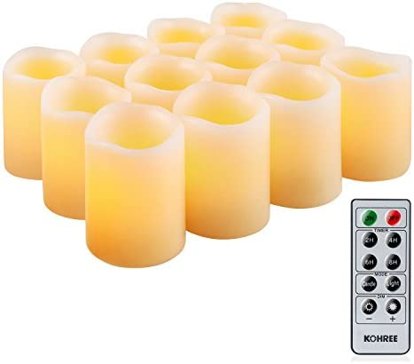 Kohree Flameless LED Candles Real Wax Remote Control Candles Battery Operated Retro Unscented Ivory Votive Pillar Candles Light, Warm White Pack of 12