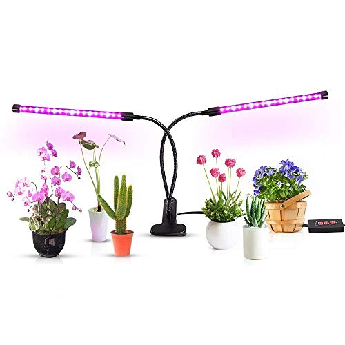 CHINFAI Plant Growing Lamp, 18W Dual Head Timing Function Grow Light 36 LED 5 Dimmable Levels with 360° Flexible Adjustable Gooseneck for Indoor Plants Hydroponics Greenhouse Gardening