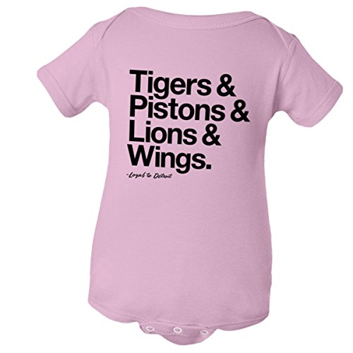 Piston Binding - Baby Jumpsuit Loyal Tigers Pistons Lions Red Wings 1Pc Pink-12M