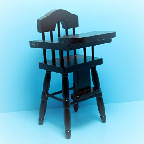 Baby Doll High Chair Furniture - Dollhouse Wooden Baby Highchair in Mahogany KL2067 - Miniature Scene Supplies Your Fairy Garden - Doll House - Outdoor House Decor