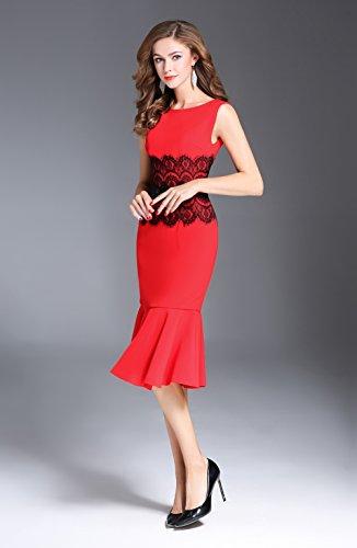 Cotylédons Robes De Sirène De Femmes Ramassent Des Robes Sans Manches Mince Cou Court Pour Les Robes De Fête Formelle Rouge