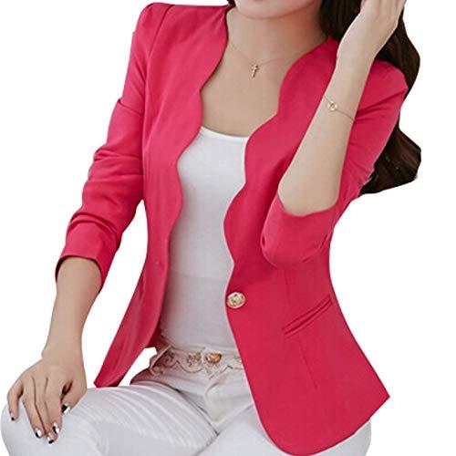 Cappotto Tailleur Blazer Giacca Primaverile Mode Slim Manica Outerwear Donna Casual Autunno Rosso Colori Di Camicia Ufficio Eleganti Corto Moda Marca Lunga Business Solidi Fit Da 0rwq01