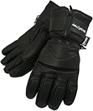 Avalanche Unisex Winter Sports LEATHER Gloves (Extra Large Size) - WARM and DRY - Expandable Cuffs, FULL FINGE