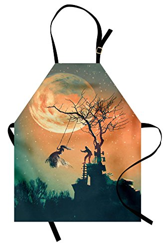 Ambesonne Fantasy World Apron, Spooky Night Zombie Bride and Groom Lady on Swing Under Starry Sky Full Moon, Unisex Kitchen Bib Apron with Adjustable Neck for Cooking Baking Gardening, Orange Teal -