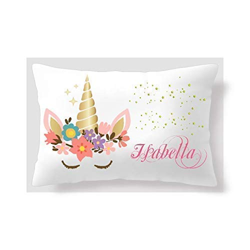 BlueVStudio | Personalized Colorful Flower Unicorn Pillow Case 20