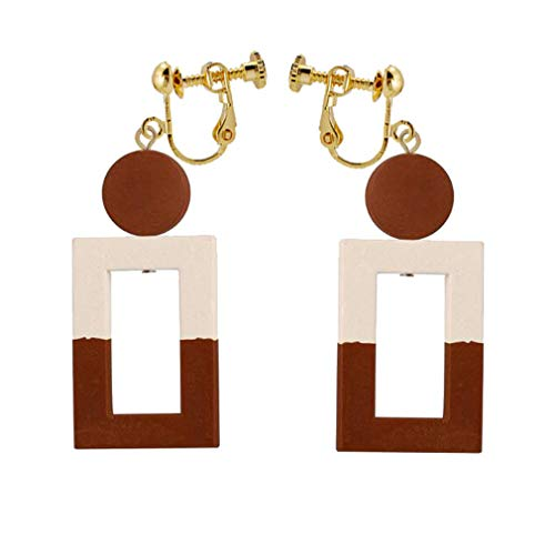 (Square Wood Clip on Earrings Brown Hollow Dangle Non-Pierced Jewelry for Women Grils Gift )