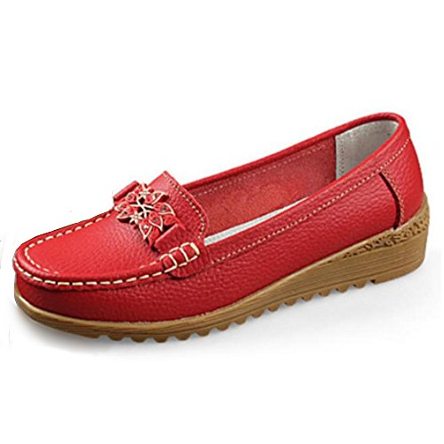 Women Loafers Leather Oxford Slip On Walking Flats Anti-Skid Boat Shoes - Split Toe Oxfords