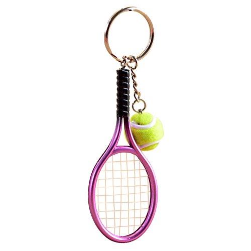 Naovio Tennis Ball Racket Keychain Key Ring Metal Tennis Ball Split Ring, Green, Purple, Yellow, -