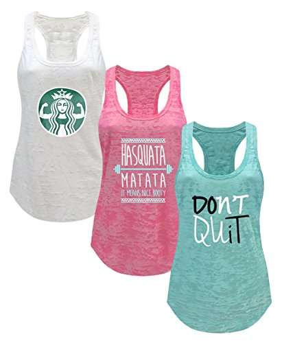 Tough Cookie's Women's Gym Athletic Workout Tank Top 3 Pack Deal #3 (Large - LF, White/Fuchsia/Mint) -