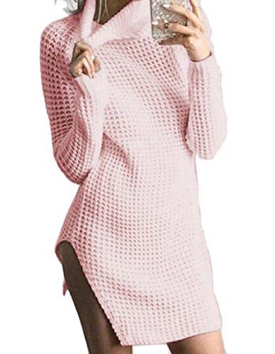 Maglia Cava Comodi Donne In Tagliato collo Rosa Hi Casuale Dress Solido Cocktail qw8854