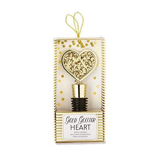 Kate Aspen Gold Glitter Heart Bottle Stopper - Open Heart Bottle Stopper