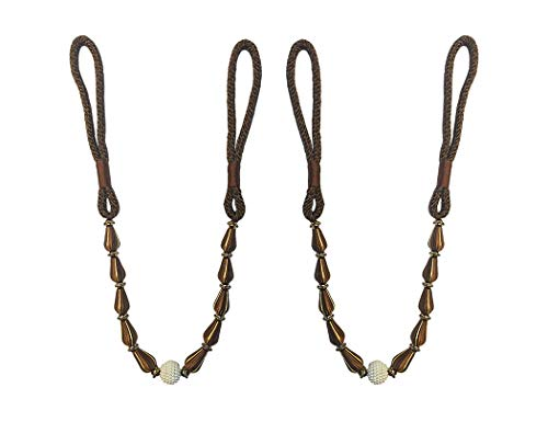 Home Queen Beaded Curtain Tiebacks for Extra Large Window Curtain, Hand Knitting Buckle Cord Drapery Holdbacks, Set of 2, ()