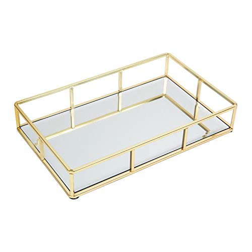 "(Houseables Mirrored Tray, Decorative Countertop Organizer, 11.75""x2""x7.5"", Gold, Ornate Vanity Décor, Bathroom Accessories, Perfume Plate, Jewelry Box, Makeup Holder, Coffee Table Catchall, Brass)"