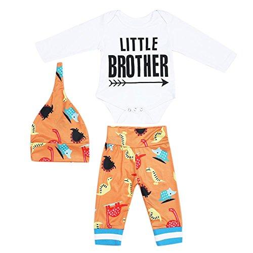 - Diamondo Baby Romper Jumpsuit Playsuit, 3pcs Unisex Baby Kids Long Sleeve Cotton Soft Romper+Long Pants+Hat (0-6M)