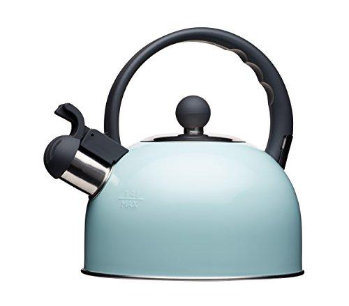 Kitchencraft Living Nostalgia - tetera de silbadora, para cocina de induccion y electrica, 1,3 l (, estilo antiguo, metal, azul claro, 18 x 21 5 x 21 cm