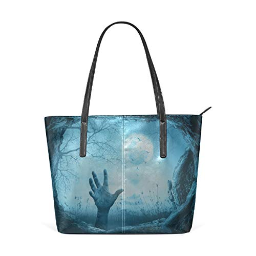 Laptop Tote Bag The Magic Forest Is Frightening At Night Large Printed Shoulder Bags Handbag Pu Leather Top Handle Satchel Purse Lightweight Work Tote Bag For Women Girls ()