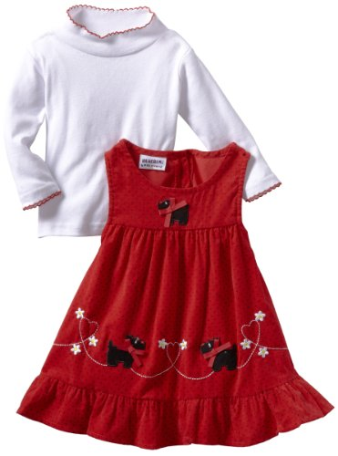 Blueberi Boulevard Baby Girls' Scotty Dogs and Hearts Printed Cord Jumper With Knit Top