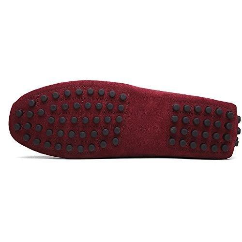38 Daim Casual 49 Ville Confort Vin Loafers Conduire Flats Chaussures Penny Mocassins Homme Hommes De Rouge Bateau En 86ZFRI8qw