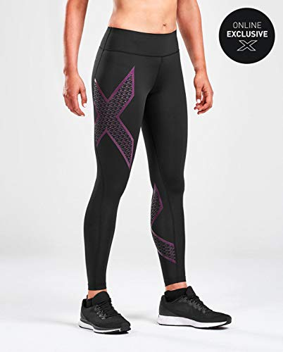 2XU Women's Bonded Mid-Rise Tights Black / 2XU Fill Grape Juice XS by 2XU (Image #1)