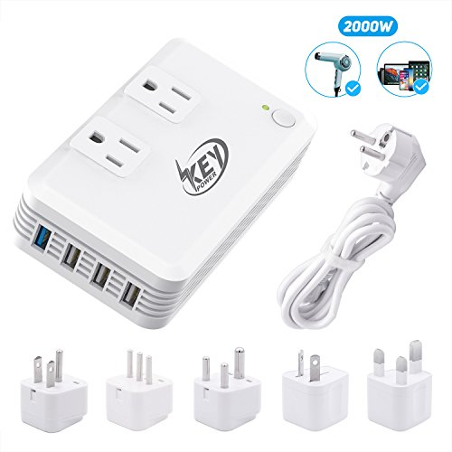 Key Power 2000-Watt Step Down 220V to 110V Voltage Converter & International Travel Adapter Power Strip - [Use for USA High-Wattage appliance overseas] Especially for Hair Dryer (110 220 Converter Volt)