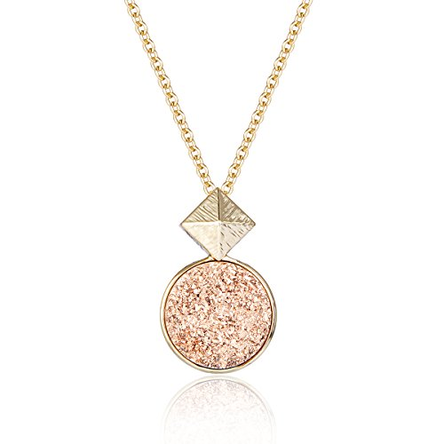 Drusy Quartz Necklace (Rose Gold Druzy Completeness Pendant Necklace with 14K Gold-Plated over Brass, 16