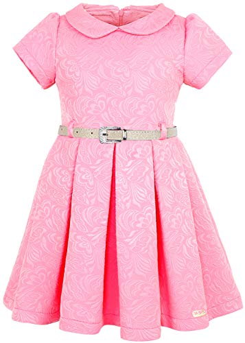 (Lilax Little Girls' Flocked Occasion Dress with Shimmer Belt 2T Pink)
