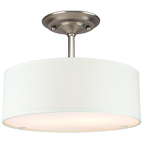 Revel addison 13 2 light semi flush mount ceiling light fixture w off white fabric drum shade brushed nickel finish