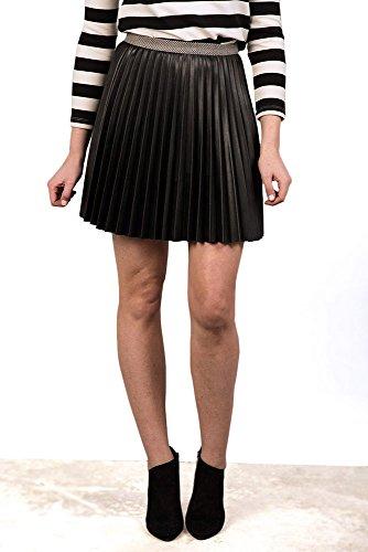 V&L - Falda Plisada Pu, Mujer, Color Negro, Talla 4