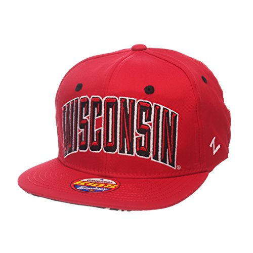 Zephyr NCAA Wisconsin Badgers Children Boys Youth TC Villain Snapback Hat, Youth Adjustable, Team Color