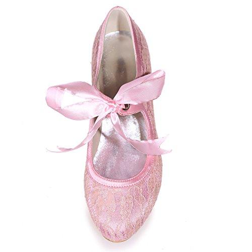 Frauen High Geschlossen Kleid Prom Ferse 3 Elobaby 5 Hochzeit Kätzchen Toe Spitze Satin Pumpen Heels Schuhe Party Toe da0qvTwqxX