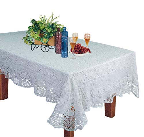 Crochet Lace Fabric - Creative Linens Handmade Crochet Lace Tablecloth 60x104 Rectangular White, 100% Cotton