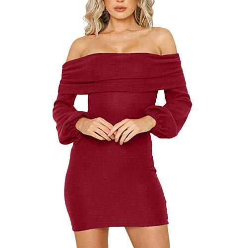 (Women's Dresses,Venfamo Loose Sweater Dress Short Off Shoulder Pullover Knit Dress Oversized Long Sleeve Mini)