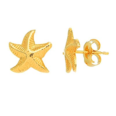 JewelStop 14K Solid Yellow Gold Star Fish Post Stud Earrings from JewelStop