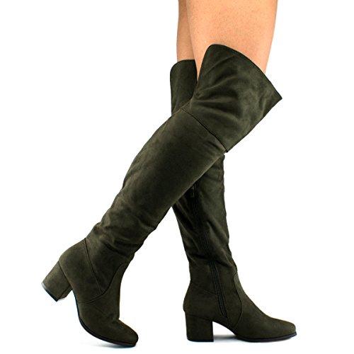 Premier Standard Women's Over The Knee Stretch Boot - Trendy Low Block Heel Shoe - Sexy Over The Knee Boot - Easy Heel Boot Premier Olive Su