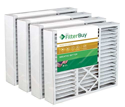 FilterBuy 20x25x5 Honeywell FC100A1037 Compatible Pleated AC Furnace Air Filters (MERV 11, AFB Gold). Replaces Honeywell 203720, FC35A1027, FC100A1037, FC200E1037, Carrier FILXXCAR-0020. 4 Pack.