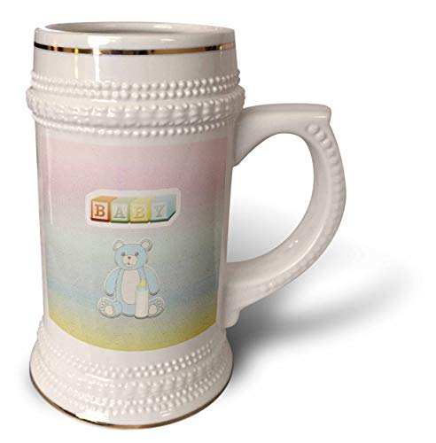3dRose Beverly Turner Baby Stuff Design - Baby Block Letter Look, Blue Bear with Bottle - 22oz Stein Mug (stn_313315_1)