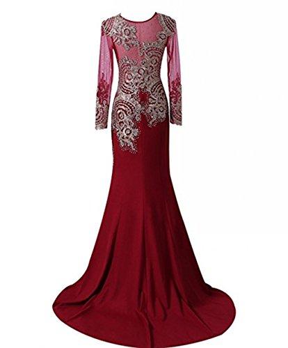 Abendkleid Spitze Strass nge Langarm Mieder Sheer King's Boden Frauen Perlen Applikationen Kleid Love Meerjungfrau L Abendkleid Pink EqHv7SB