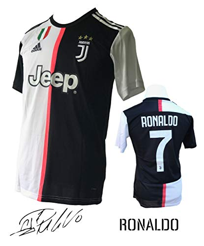 Unica Juventus Ronaldo No.#7 Soccer Jersey 2019-20 from Serie A Calcio d'Italia - New Black and White Home Soccer Jersey 2019-20 (Black & White, Medium)