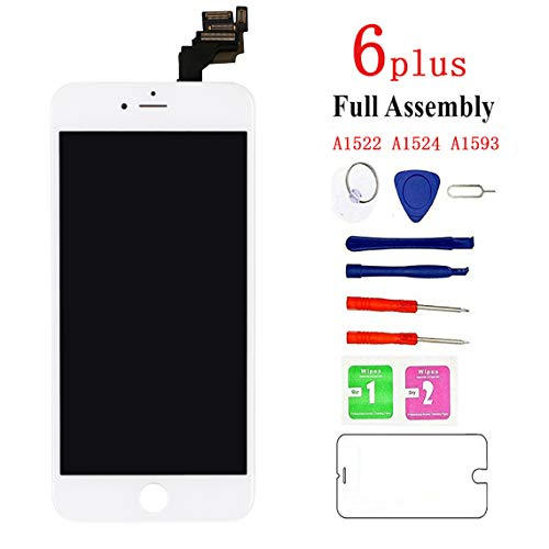 (Screen Replacement for iPhone 6 plus White, Fully Pre-Assembled LCD Display and Touch Screen Digitizer Replacement with Proximity Sensor, Earspeaker and Front Camera, Repair Tools and Screen Protector)