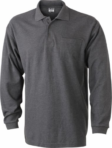 b35fb9c626a226 James   Nicholson Men s Jn029 Pique Long Sleeve Polo Large Anthracite