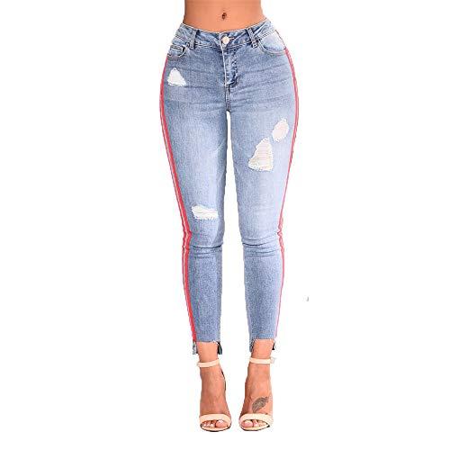 Elasticidad Pantalones Cintura Pantalones Azul Apretado Claterales Claro Blue Agujero LJYASD Alta Correas Moda TzUqv